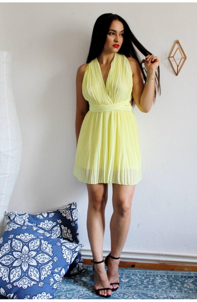 d745afc9c15f Φόρεμα κίτρινο πολυμορφικό. Καλοκαιρινό αέρινο μίνι φόρεμα.