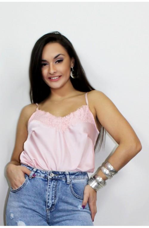 μπλουζάκι τοπ τιράντα ροζ παστέλ