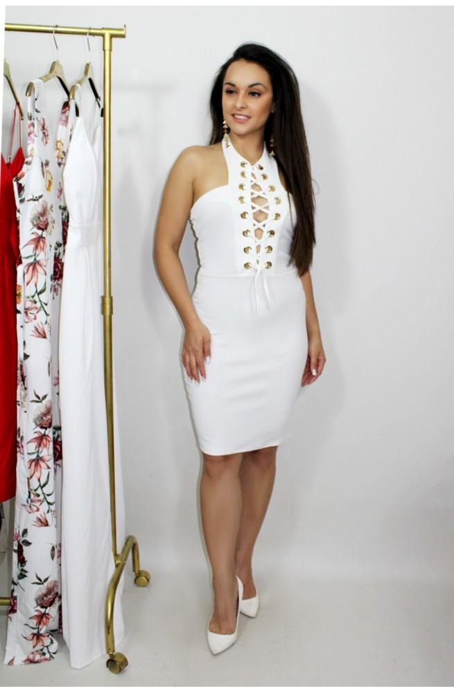 φόρεμα λευκό στενό midi