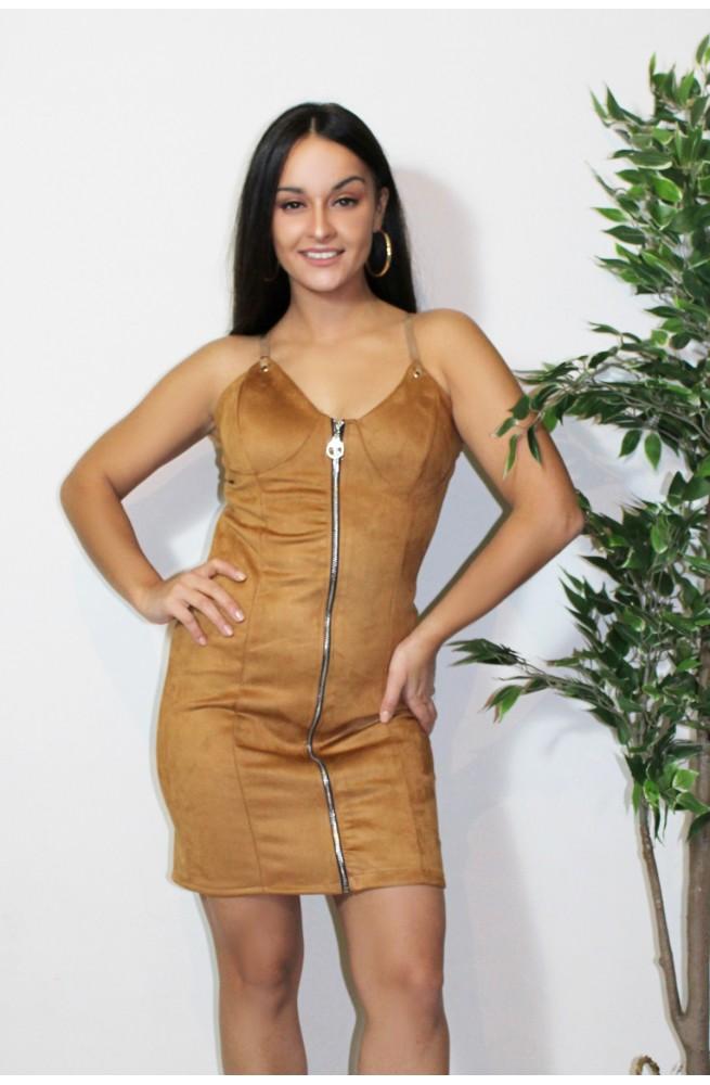 φόρεμα μίνι suede ταμπά