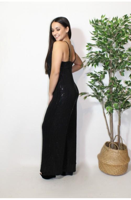 ολόσωμη μαύρη μεταλλική παντελόνα