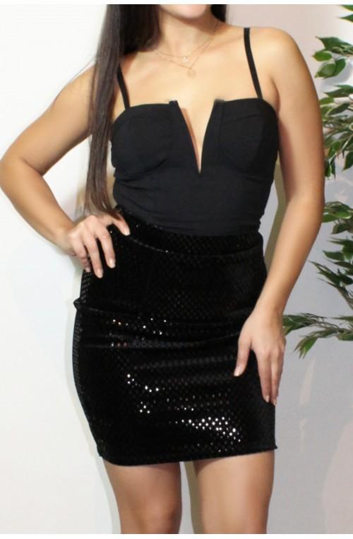 φούστα μαύρη γυαλιστερή