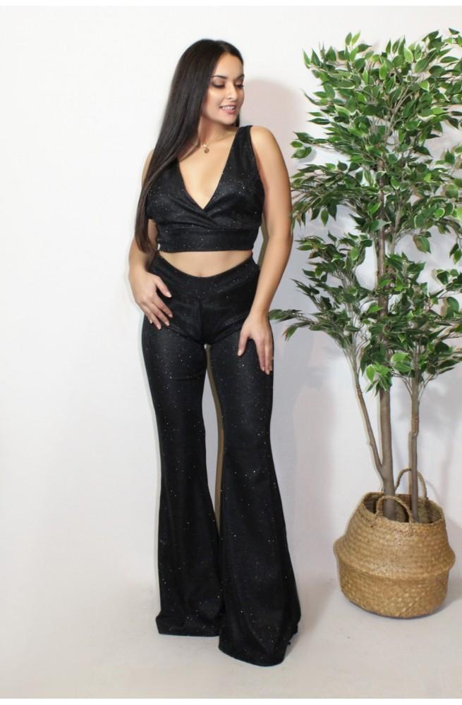 σετ τοπ και παντελόνι καμπάνα μαύρο gliter
