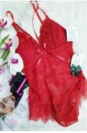 Σεξι κόκκινο εσώρουχο κορμάκι με δαντέλα