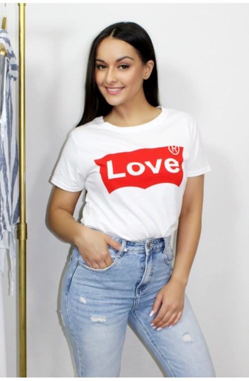 "Λευκό t-shirt "" love """