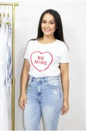 "Λευκό t-shirt "" be mine """