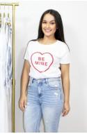 """Λευκό t-shirt """" be mine """""""
