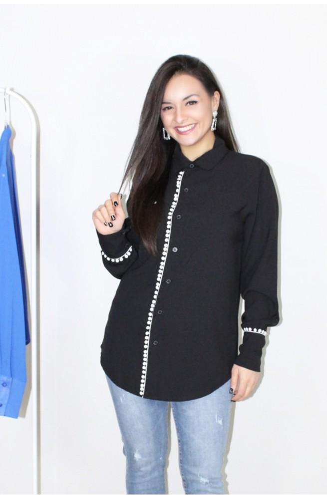 πουκάμισο μαύρο με λευκό κέντημα
