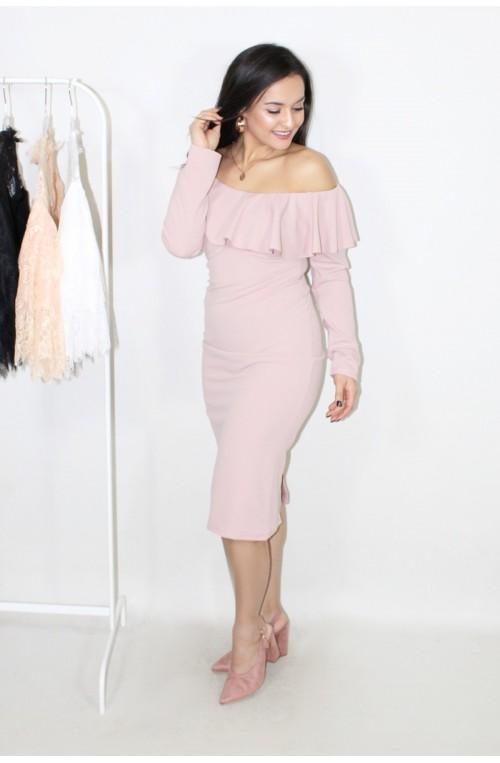 φόρεμα μακρύ μανίκι ροζ μίνι με βολάν