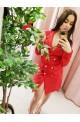 πουκάμισο φόρεμα κόκκινο, μίνι, μεσάτο, με χρυσά κουμπιά