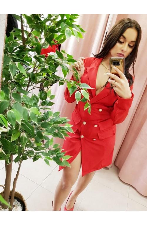 φόρεμα πουκάμισο κόκκινο με χρυσά κουμπιά
