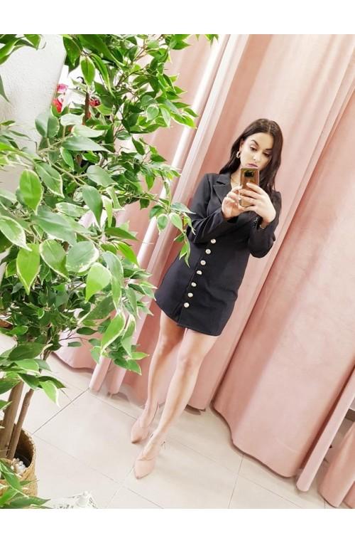 φόρεμα πουκάμισο μαύρο, μίνι, με χρυσά κουμπιά