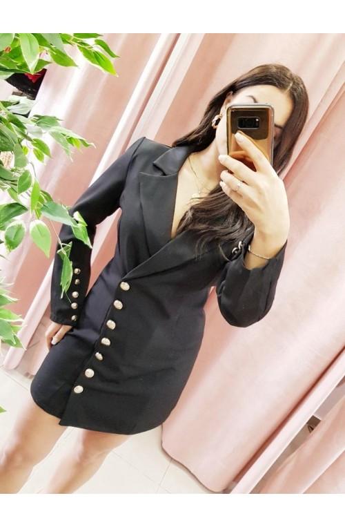 φόρεμα πουκάμισο μαύρο, μίνι, χρυσά κουμπιά