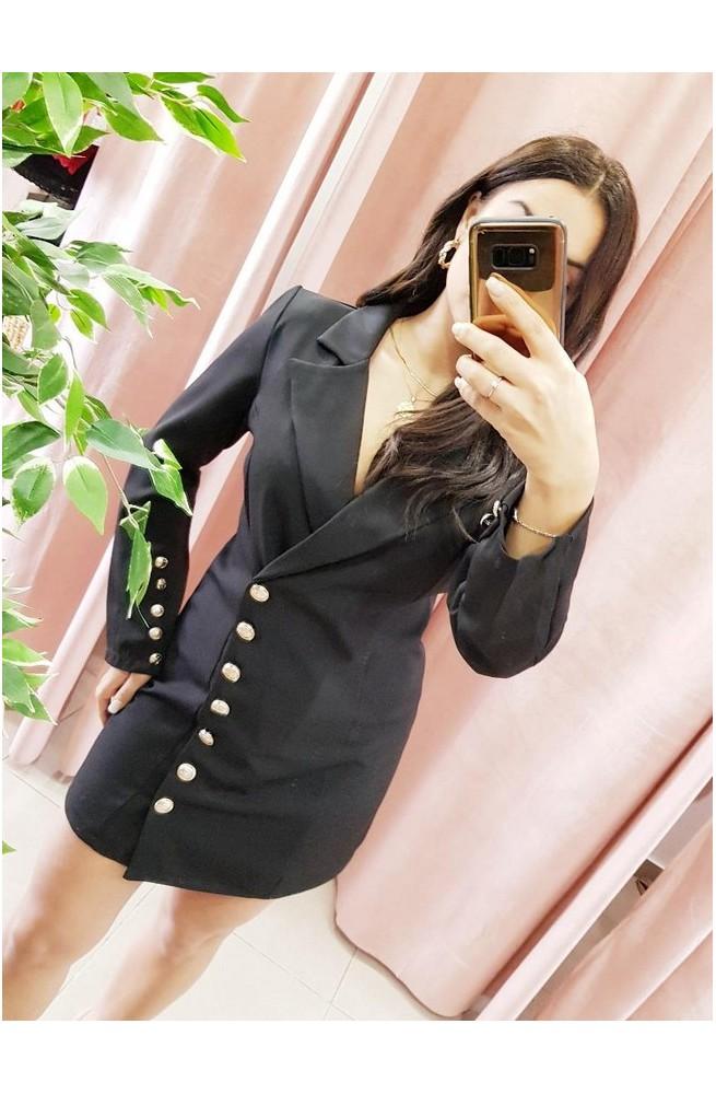 φόρεμα πουκάμισο μαύρο με χρυσά κουμπιά