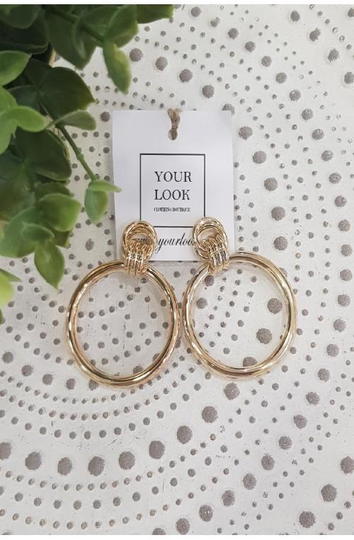 σκουλαρίκια καρφωτά χρυσά κρίκοι