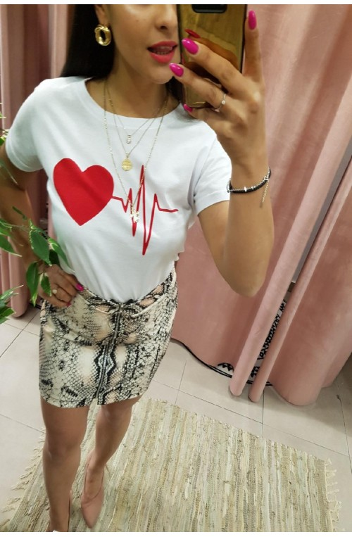 t-shirt Λευκό με Καρδιά