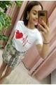 t-shirt γυναικειο λευκο με καρδιά