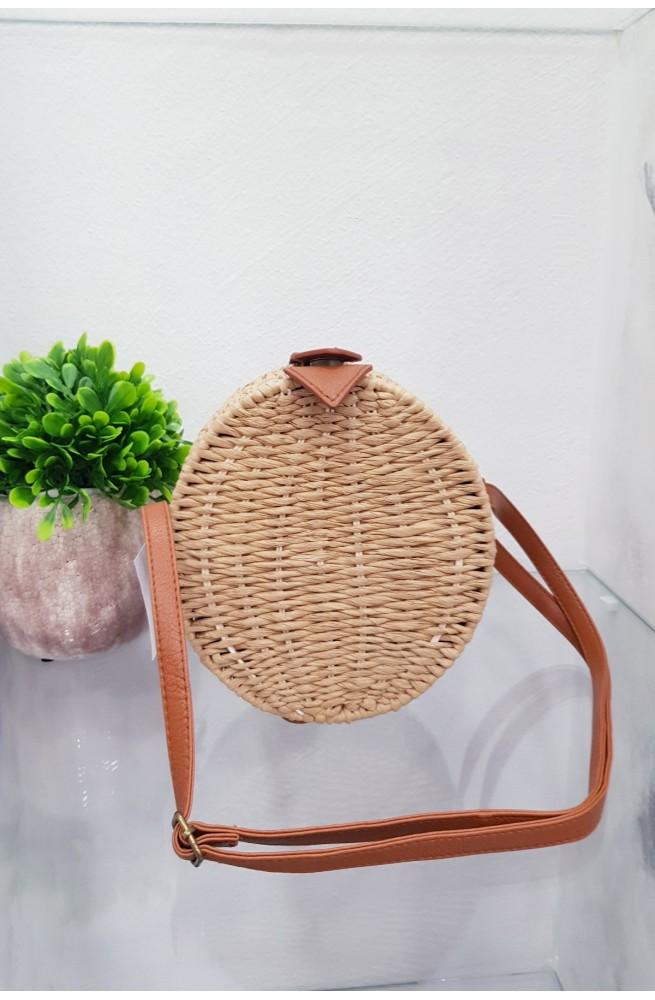 Τσάντα Ψαθινη στρογγυλή