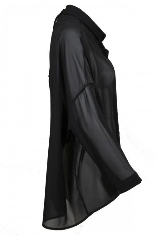 πουκάμισο μαύρο διάφανο φαρδιά γραμμή