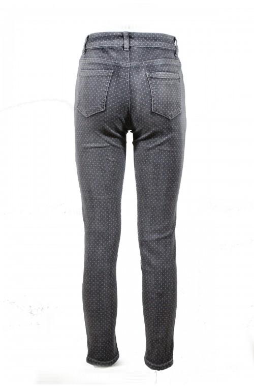 Μοντέρνο με γκρι πουά, ελαστικό, ψηλόμεσο τζιν παντελονι, βαμβακερό.