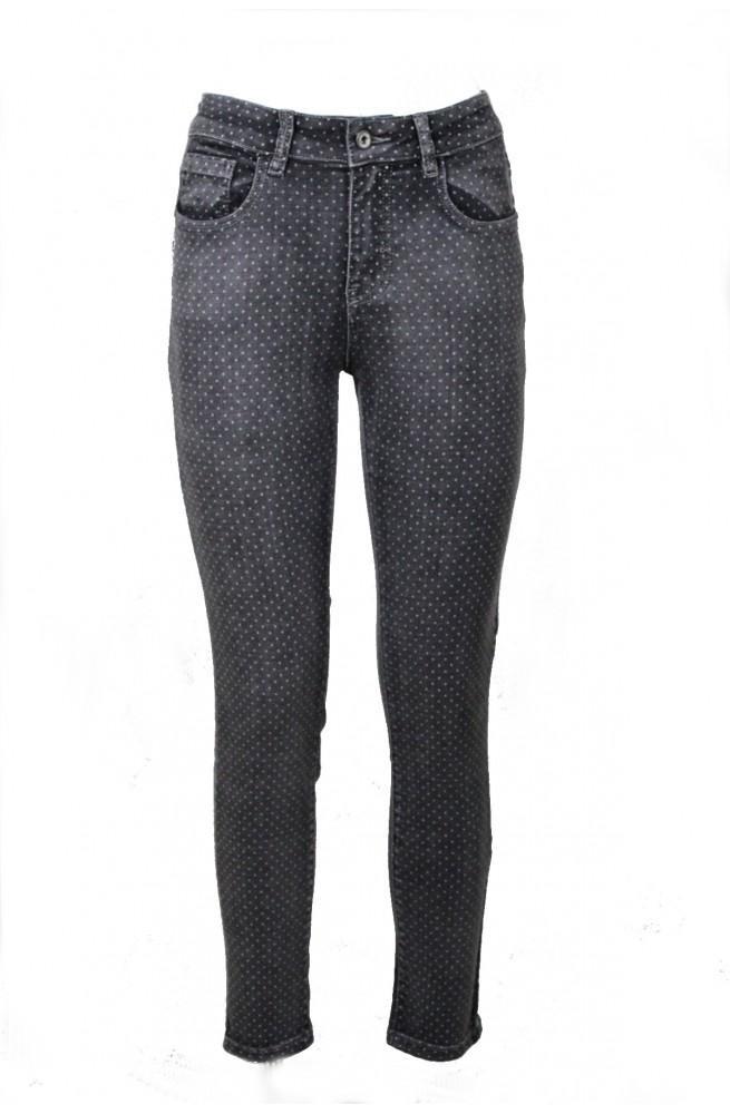 γυναικείο τζιν ελαστικό ψηλόμεσο παντελόνι με γκρι πουά