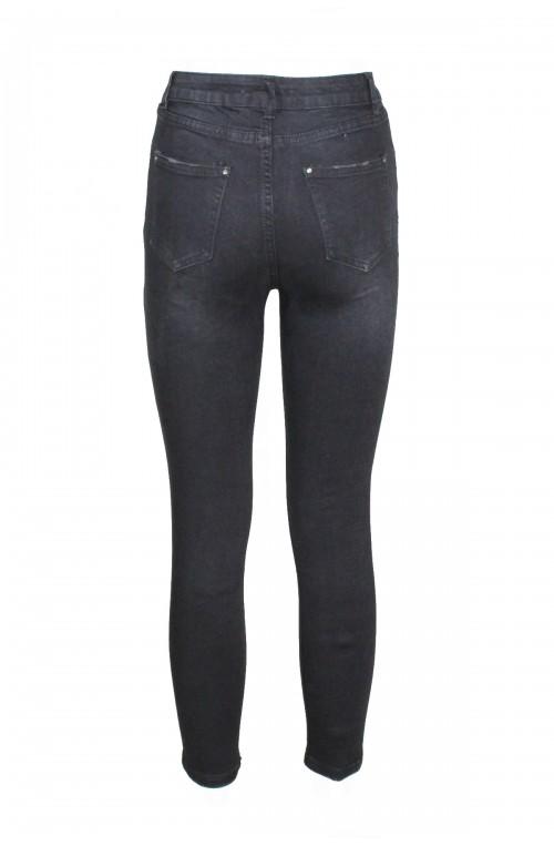 Τζιν γυναικειο skinny, μαύρο ελαστικό, ψηλόμεσο τζιν παντελονι από 100% βαμβάκι
