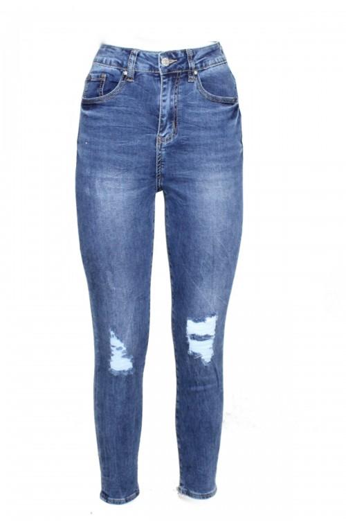 ψηλόμεσα ελαστικά τζιν παντελόνια σωλήνας σκίσιματα φθηνά