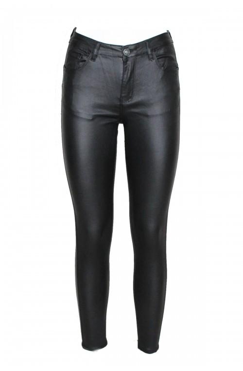 ψηλόμεσα τζιν ελαστικά δερμάτινα μαύρα παντελόνια