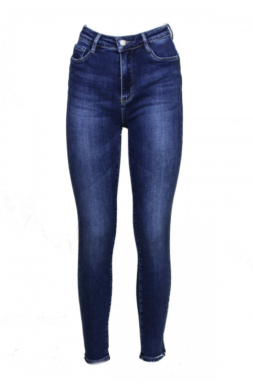 Γυναικεία Skinny Τζιν Ψηλόμεσο Ελαστικό τζιν σωλήνας push up μπλε