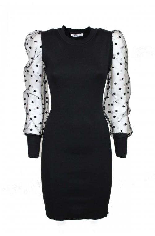 φόρεμα μίνι στενό με πουά μανίκια