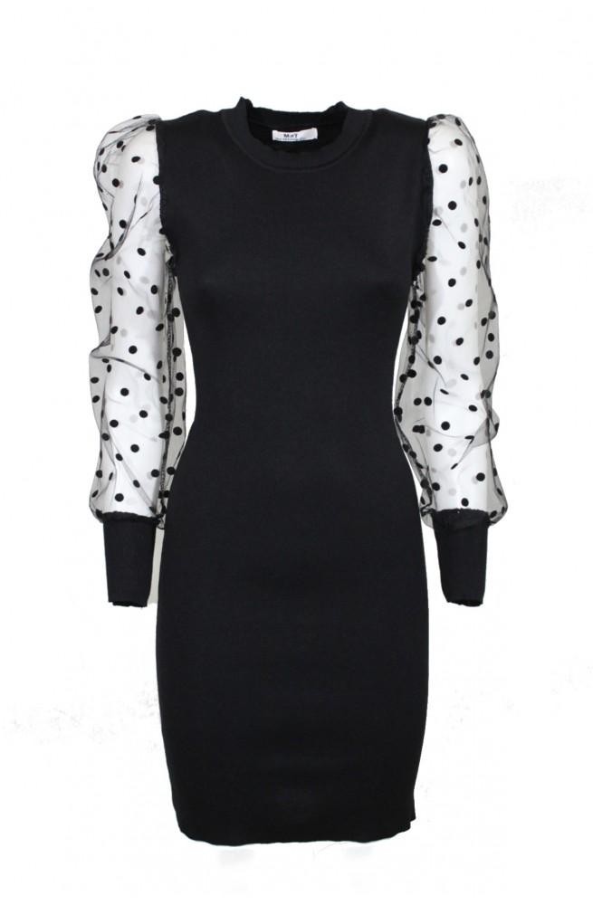 νεανικό χειμωνιάτικο φόρεμα μίνι στενό με πουά μανίκια