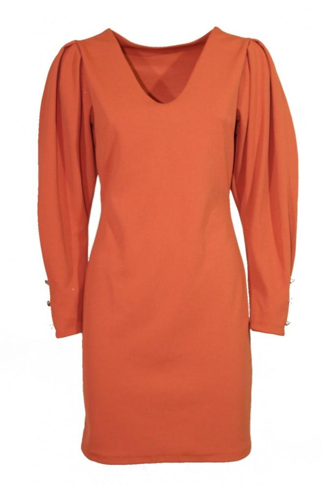 φόρεμα μίνι στενό με φουσκωτά μανίκια