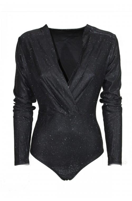 κορμάκι μαύρο κρουαζέ lurex με glitter