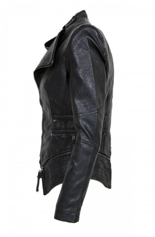 γυναικείο δερμάτινο μπουφάν με φερμουάρ από οικολογικό δέρμα για rock εμφάνιση!