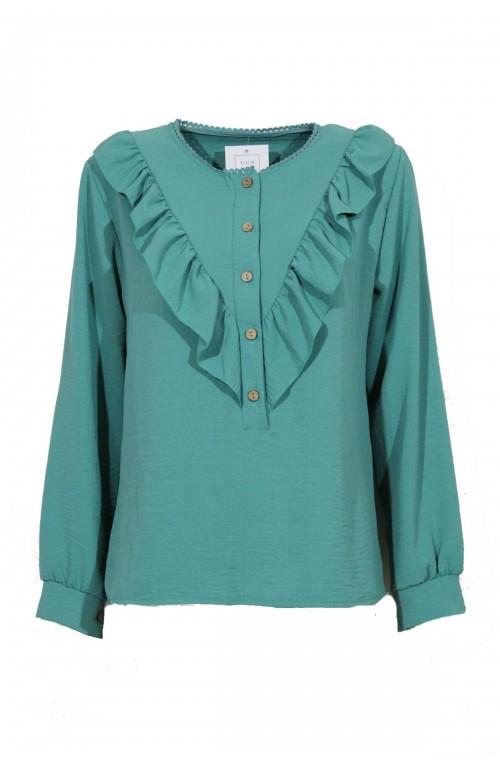 μπλουζάκι με βολάν και κουμπάκια
