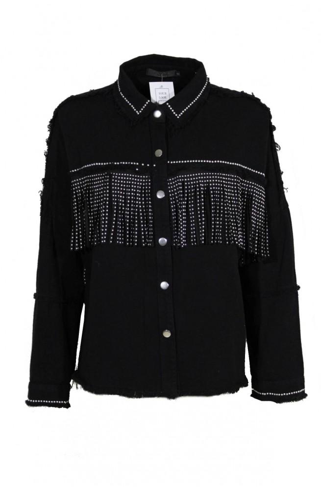 jean jacket - πουκάμισο με κρόσσια