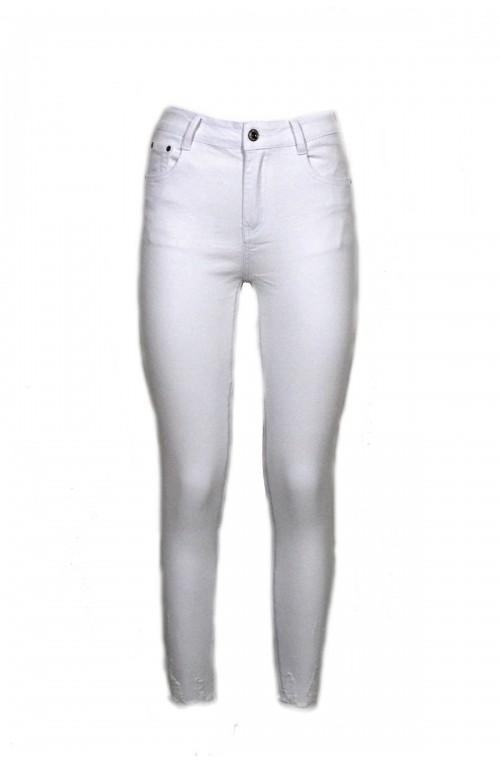 γυναικείο λευκό τζιν παντελόνι ψηλόμεσο