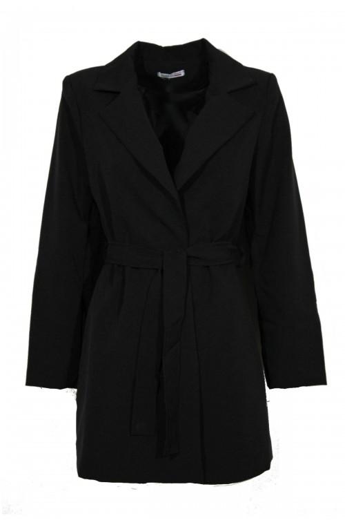 Μαύρο Σακάκι Γυναικείο Μεσάτο Μακρύ Ιταλικό Blazer με ζώνη