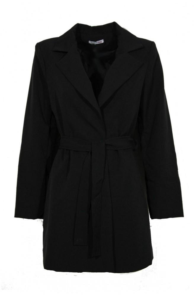 blazer μαύρο γυναικείο μεσάτο σακάκι με ζώνη