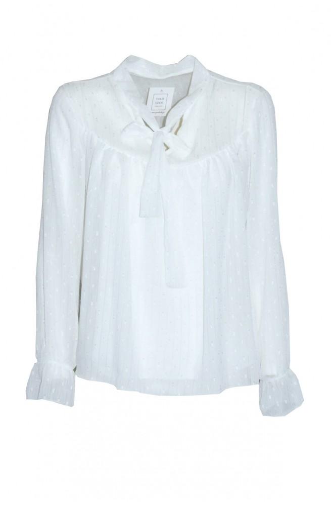 μπλουζάκι άσπρο ημιδιάφανο με μακρύ μανίκι