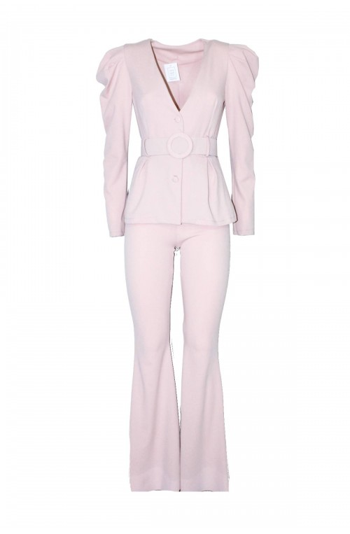 κουστούμι ροζ παστέλ με φουσκωτό μανίκι