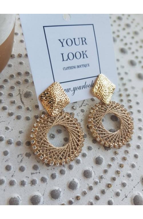 σκουλαρίκια καρφωτά χρυσά με κέντημα