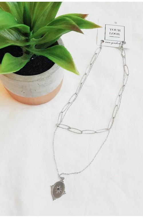 γυναικεία διπλή αλυσίδα για το λαιμό ατσάλι