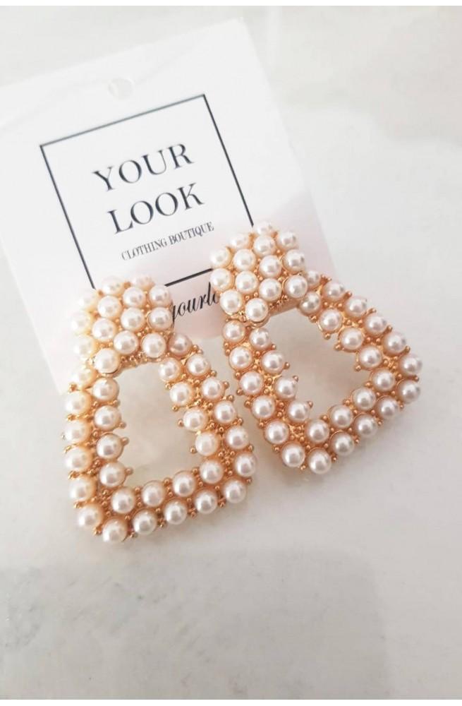 γυναικεία τετράγωνα σκουλαρίκια κρεμαστά με πέρλες