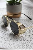 γυναικεία γυαλιά ηλίου στρογγυλά μαύρο χρυσό