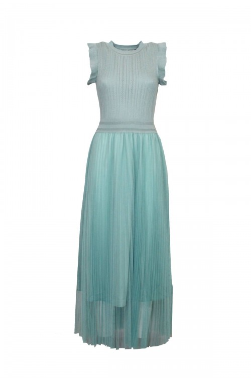 φόρεμα midi δαντέλα με τούλι