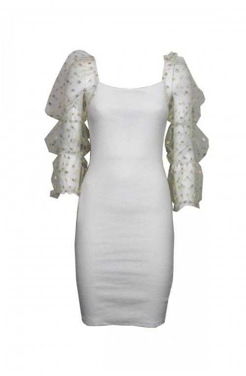 λευκό φόρεμα με διάφανο φουσκωτό πουά μανίκι