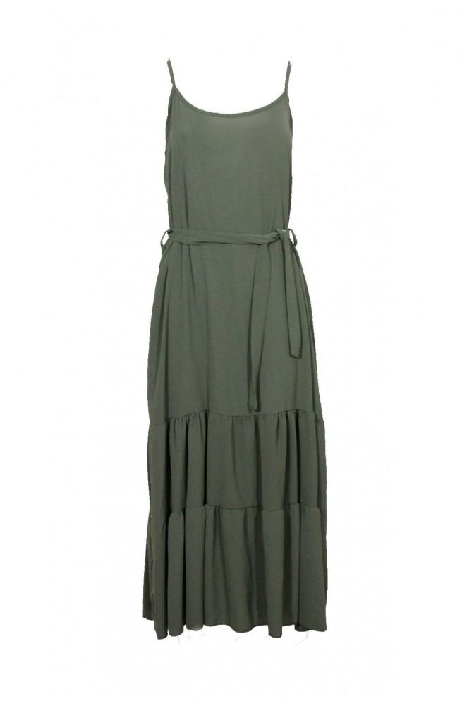 μακρύ φόρεμα τιράντα με βολάν