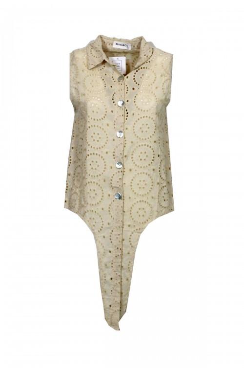 αμάνικο μπεζ πουκάμισο κιπούρ