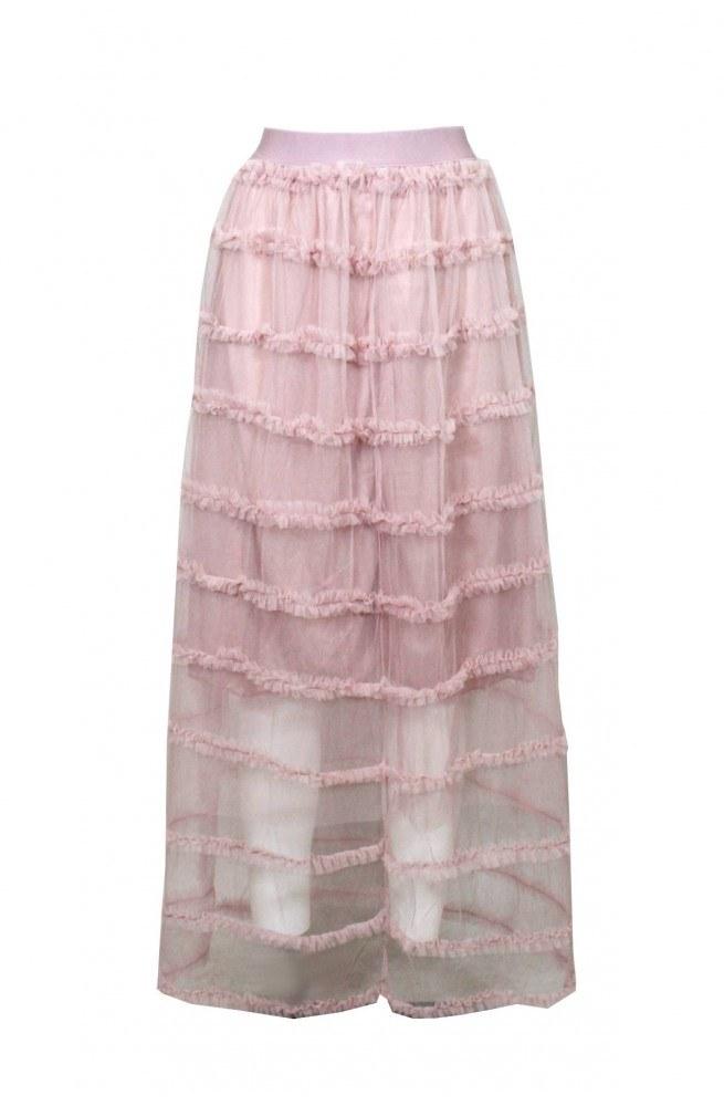 Ροζ μίντι φούστα τούλινη για γάμο ή βάπτιση